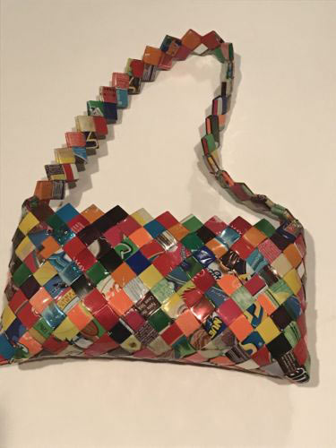 Mexican recycled bubble gum/potato chips wrapper purses