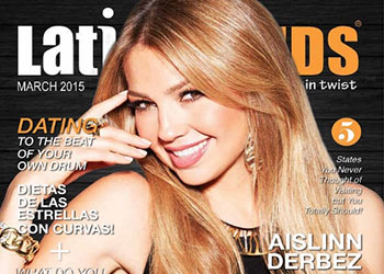 Thalia, on the cover of LatinTrends magazine