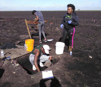 Students Kierra Lee, Deja Moore and Ervin Petithomme excavating at the Hutchinson site