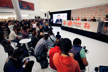 A general view of the press conference with  (L-R) Carlos Slim Jr, Team Sponsor, Esteban Gutierrez, Gene Haas, founder and chairman and Guenther Steiner of Haas F1 Team during their driver announcement on October 30, 2015 in Mexico City, Mexico. (Photo by Andrew Hone/Getty Images for Haas)